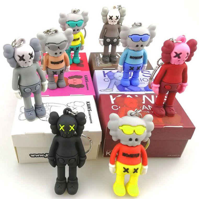 Encantos del teléfono celular correas de silicona 3D Llavero Kwas Universal colgante de dibujos animados de moda de marca compartida con la caja colores mezclados