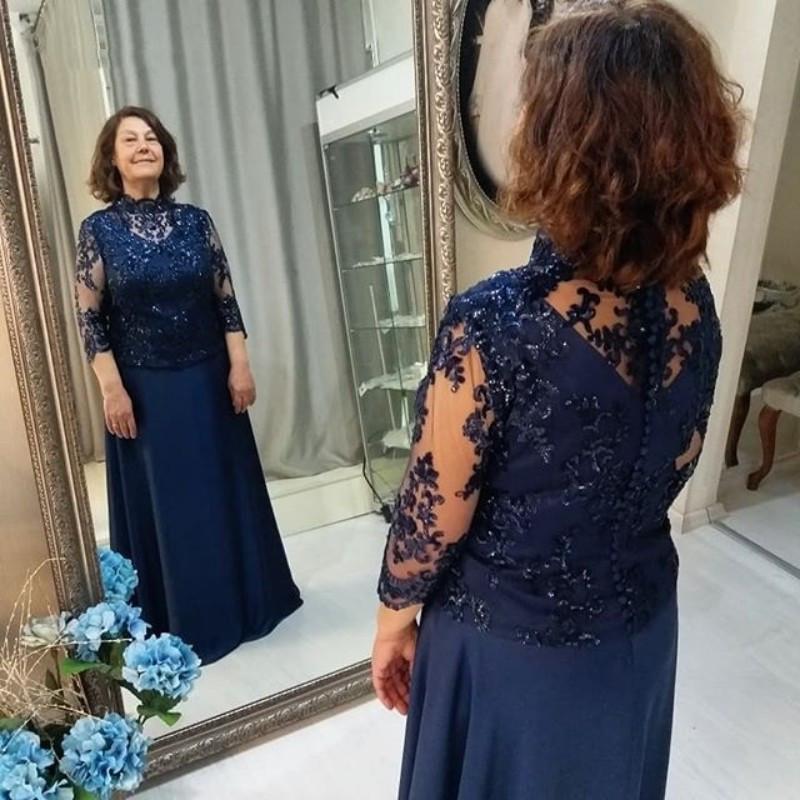 Armada de alta Vintage Cuello madre de la novia del novio de vestidos de gasa 3/4 mangas largas Lentejuelas 2021 barato de noche formales de los vestidos del vestido nuevo