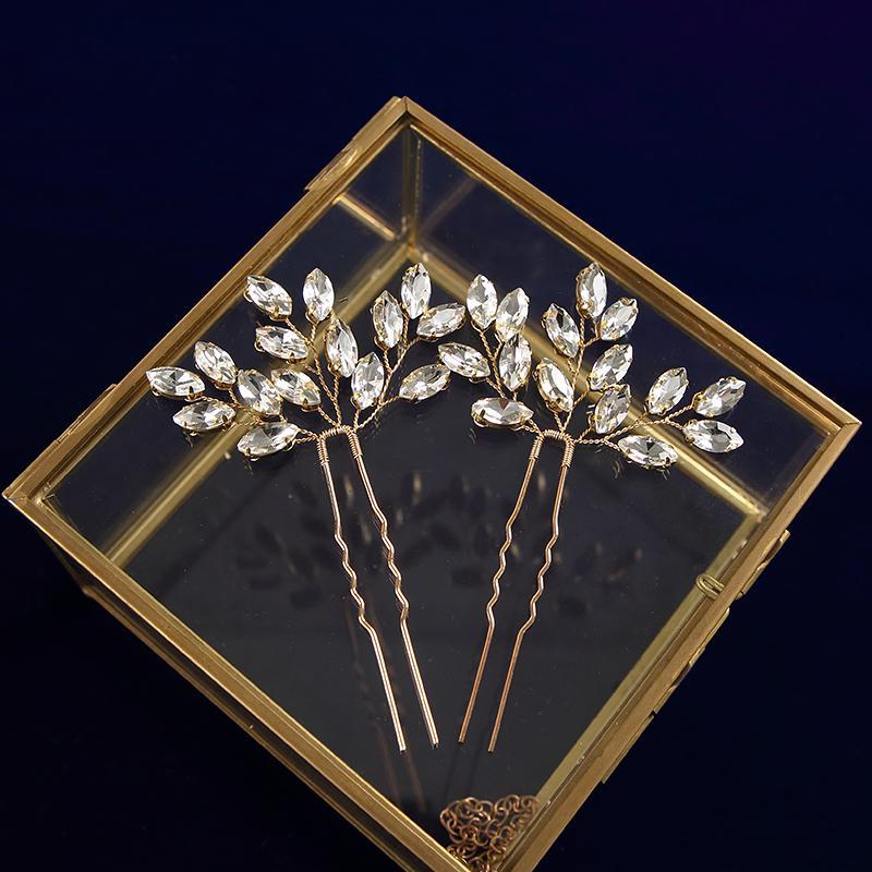 2 photos à la main d'or / d'argent Brides Piques à cheveux fleur de cristal femme Hairpins strass Piques à cheveux Mariage Accessoires de cheveux