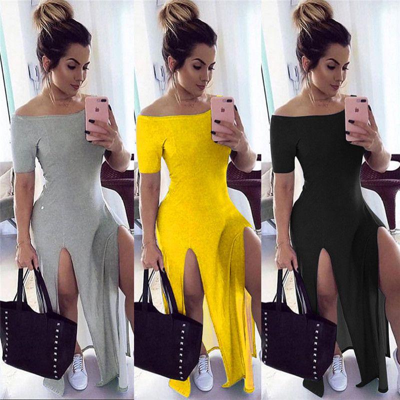 Summer Womens Casual Dresses Designer Split Spalato Abiti color naturale Abiti a manica corta Fashion Slash Neck Abiti da donna Vestiti da donna