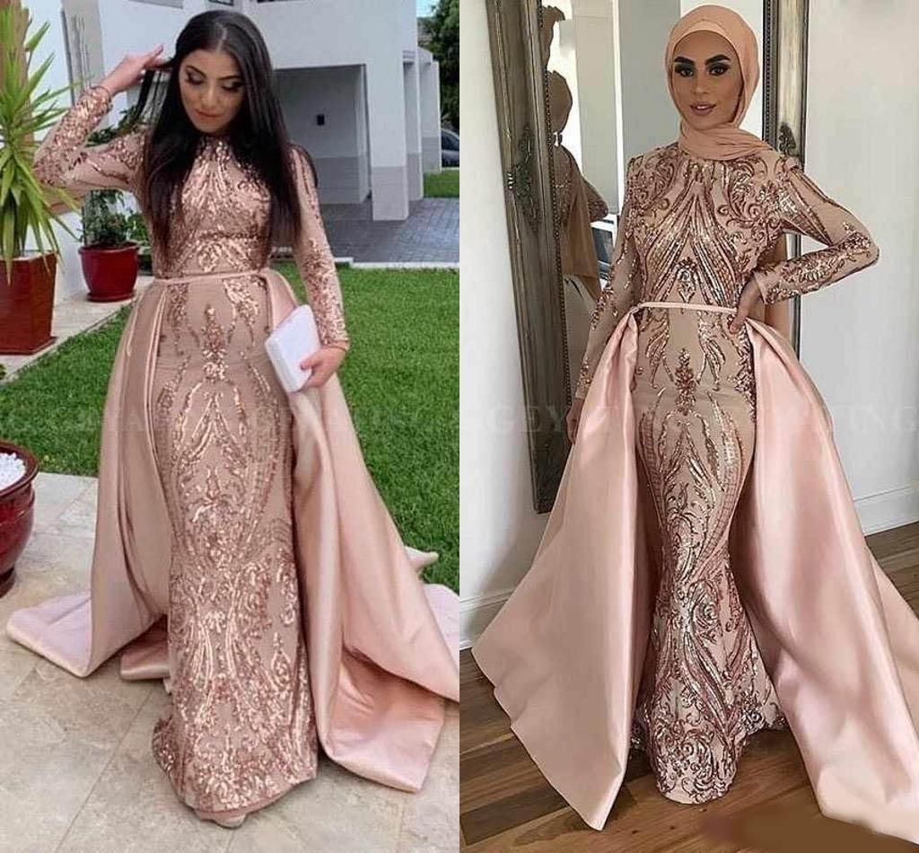 Blush Rose Gold Muslim Evening Dresses With Detachable ...