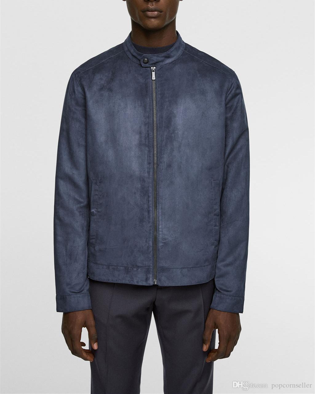 남성 패션 슬림 칼라 자켓 도시 남성 디자이너 코트 스탠드 가짜 스웨이드 남성 디자이너 자켓 가을