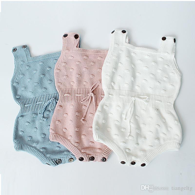 유아용 유니섹스 가을 니트 삼각형 Rompers 3+ 솔리드 민소매 코튼 양모 Jumpsuit Kids Onesies Girls Outfits 0-2T