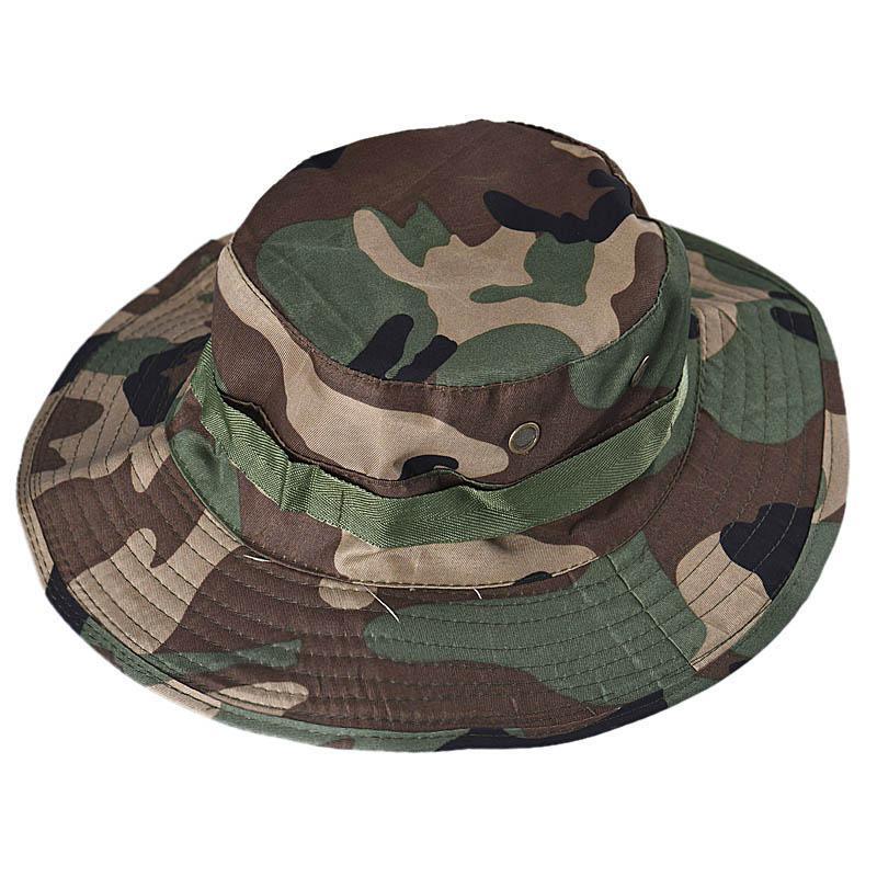 Camo verano Pescador informal cubo que acampa yendo de viaje pesca montañismo sombrero sombrilla Bonnie Hat para hombres de las mujeres