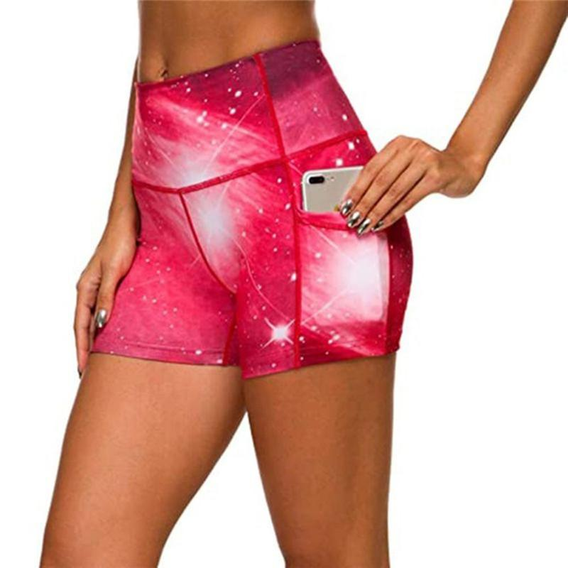 Kadınlar İnce Şort Yaz Baskılı Yüksek Elastik Bel Skinny Patchwork Kadın Hızlı Deying Nefes Shorts Cepler