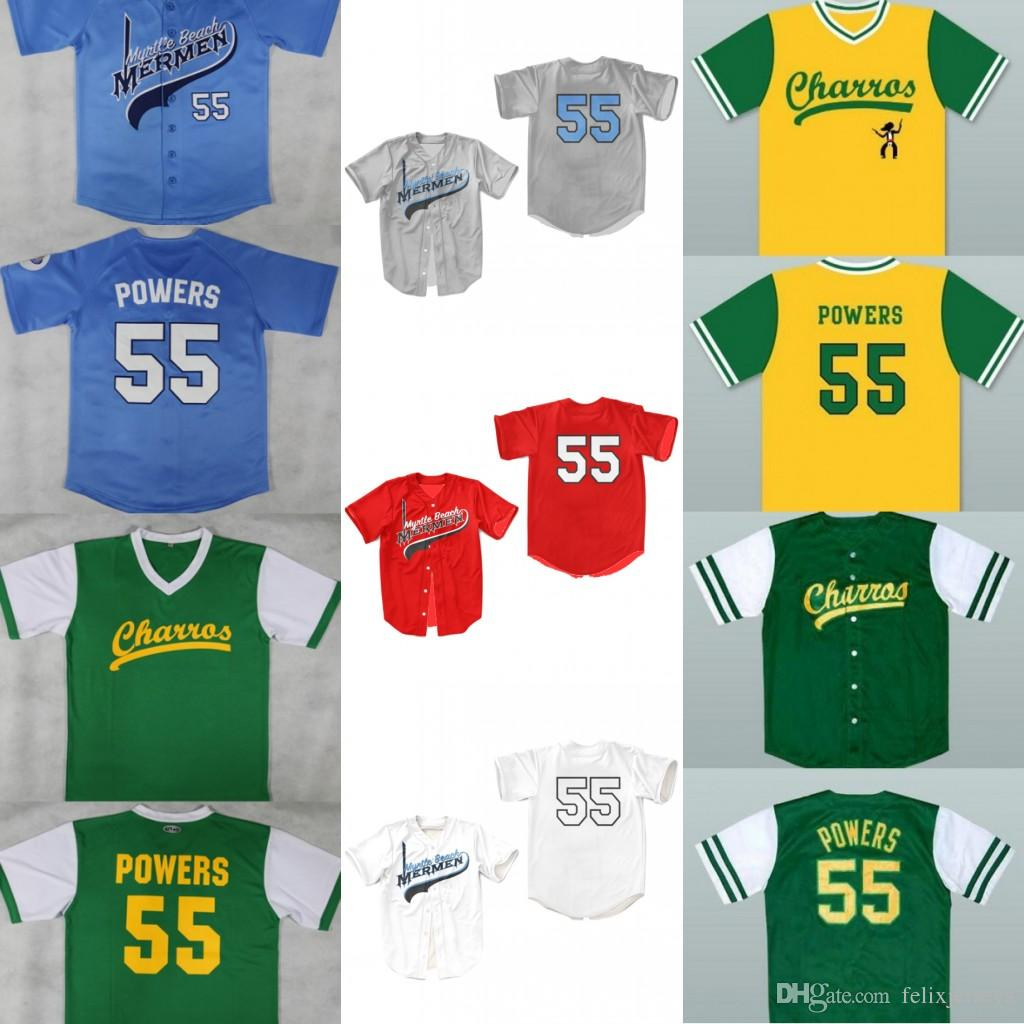 55 Kenny Powers Myrtle Beach Mermen Charros Custom Jersey Bad News Bears #12 Tanner Boyle Kelly Leak Movie 1976 Chico's Bail Bonds Jerseys