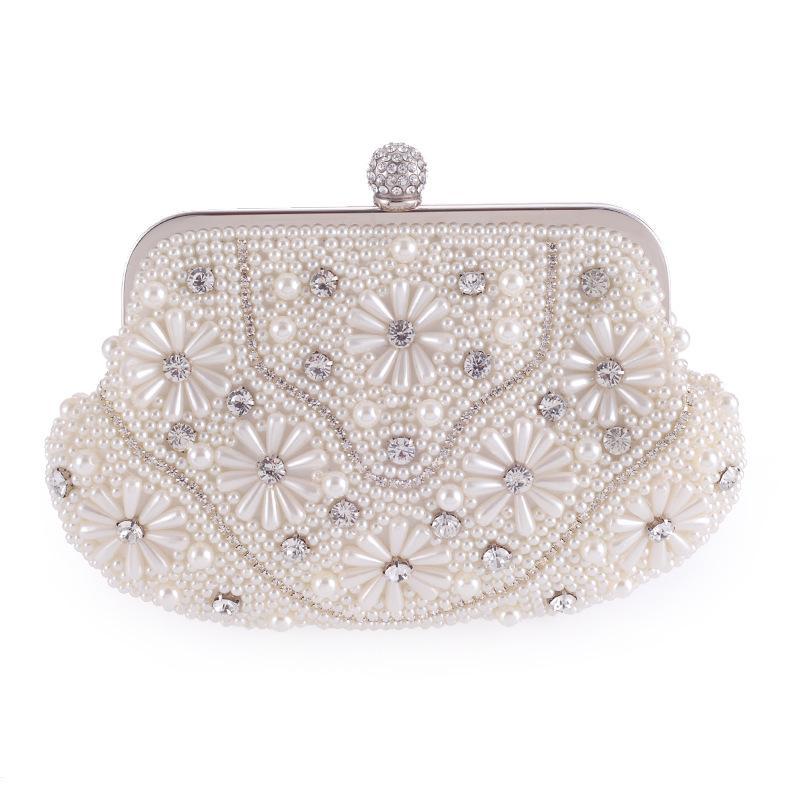 Nouveau mode Perle perlage Fleur Floral Party Pochette de soirée pour les femmes de mariage en cristal de mariée Casual Flap Sac à main Sac à bandoulière