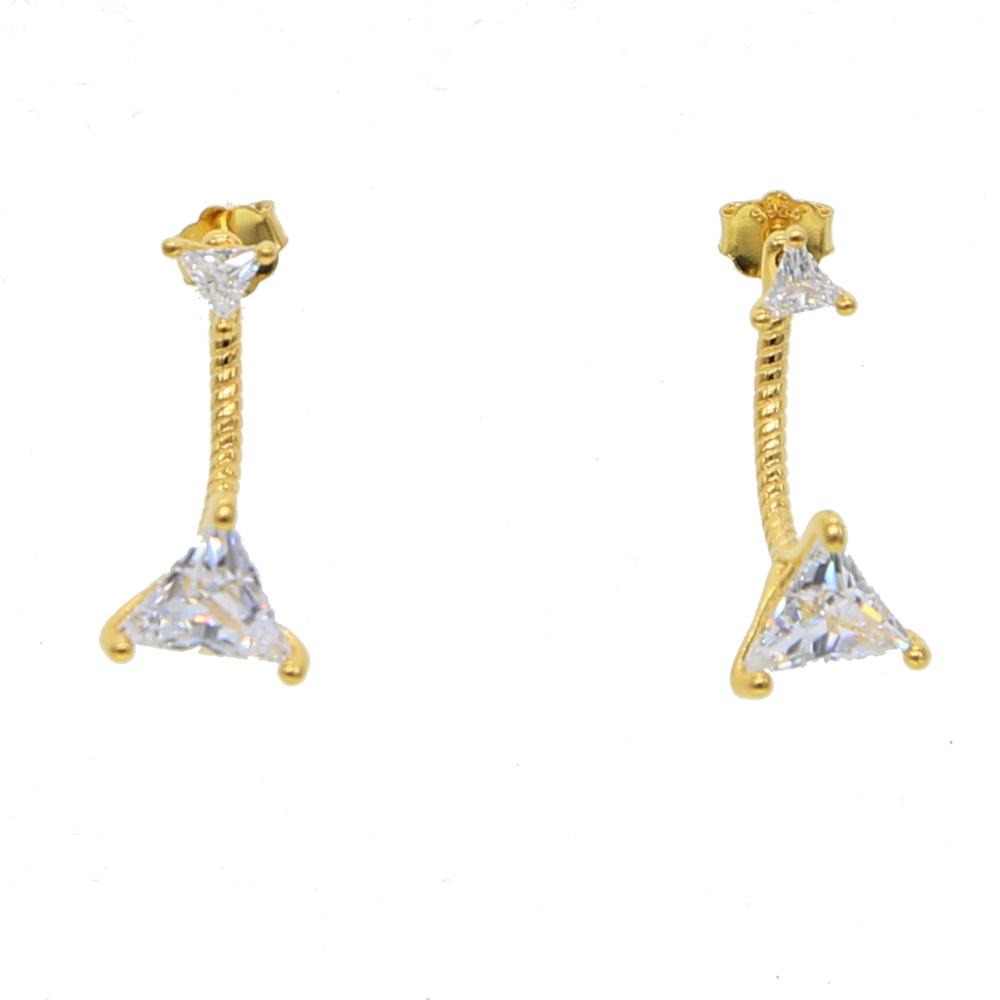 Wholesale- plated triangle cz jacket earring for women 925 sterling silver double sided geometric fashion jewelry