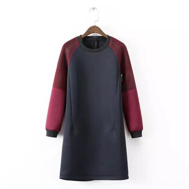 Round collar long sleeve outdoor sports women's fashionable texture stitching zipper A- line A- line dress dress short skirt