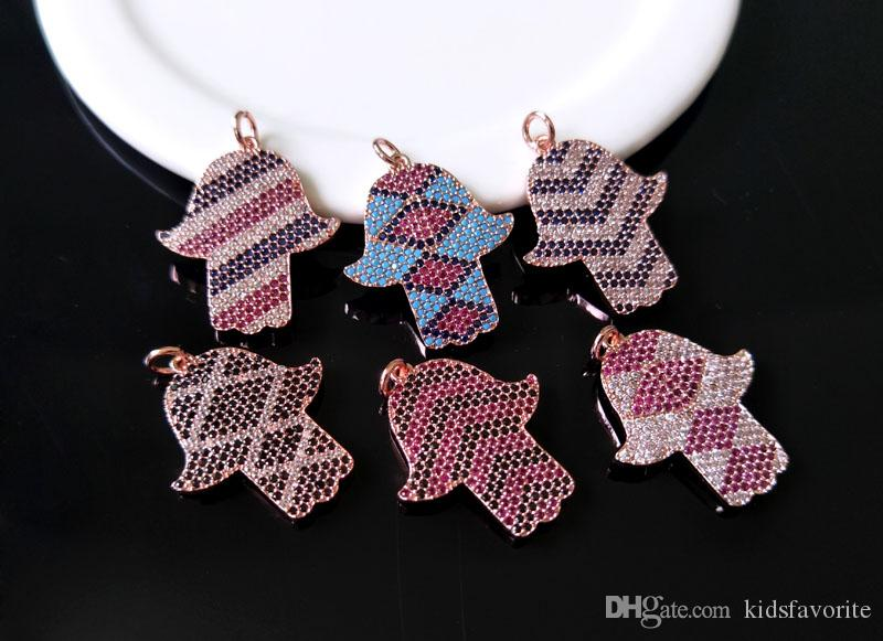 6Pcs Minuscule CZ cristal charme, CZ zircon Pierre Micro pave Turc Style Hamsa Main Pendentif, Trouver Des Bijoux BRICOLAGE collier faisant PD608