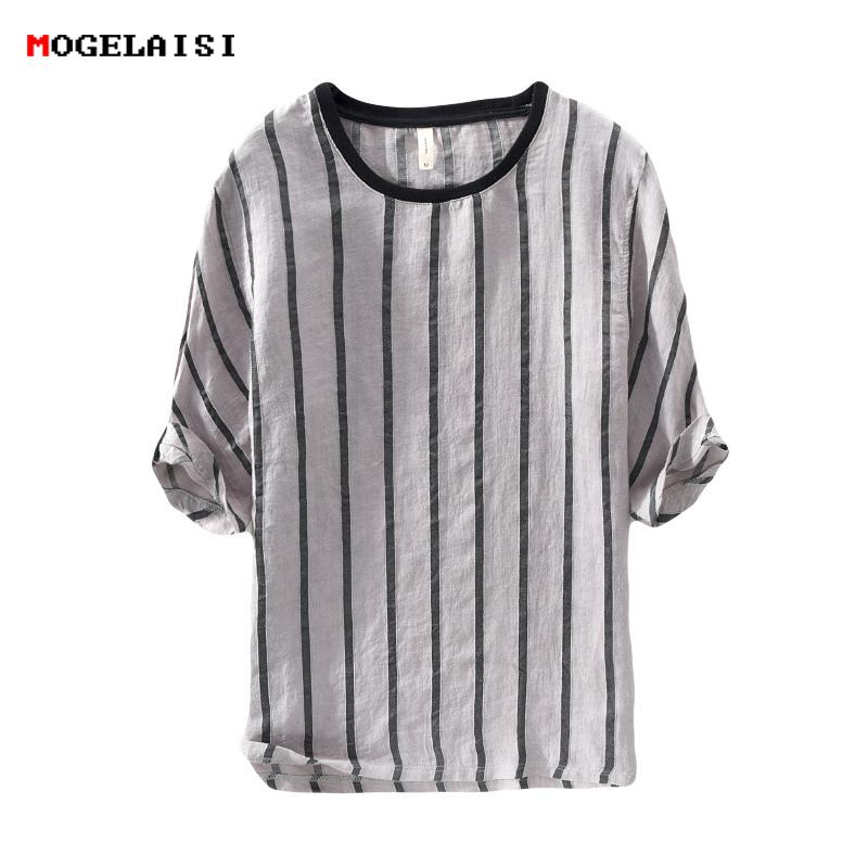 Camisetas de marca Hombres Tops con rayas Camisetas Lino Media manga Cuello redondo Lino Algodón Camiseta Transpirable Suave Suelta Camisa Hombre 258 C19041901