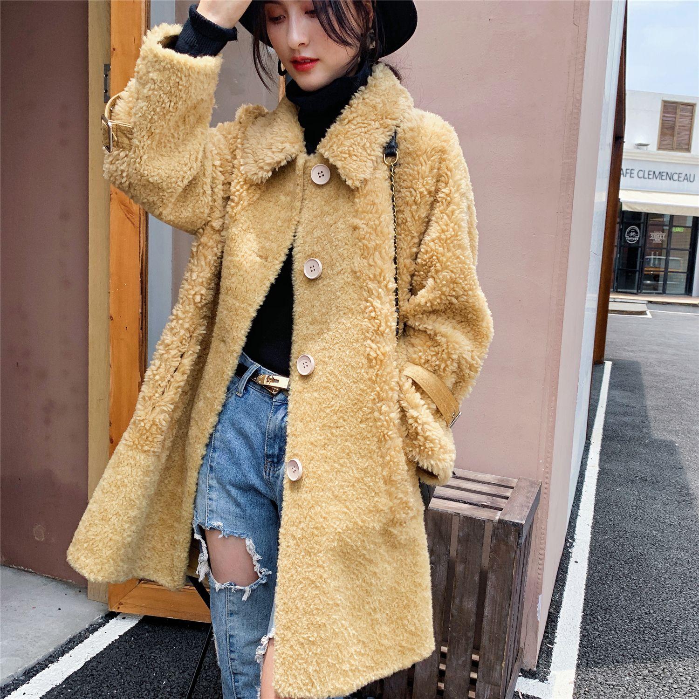 Real Fur Coat Women Winter Jacket Clothes 2020 Korean Long Sheep Shearing Jacket Female 100% Wool Coats Vintage Fur Tops 924.88