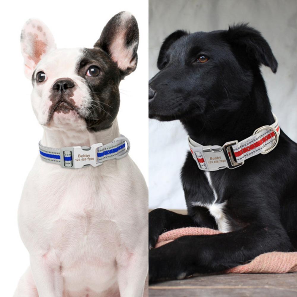 Benutzerdefinierte Nylon Hundehalsband Reflektierende Personalisierte Hunde Hals Mit Anti-Id verloren Buckle Typenschild Für Small Medium Large Hunde Mops