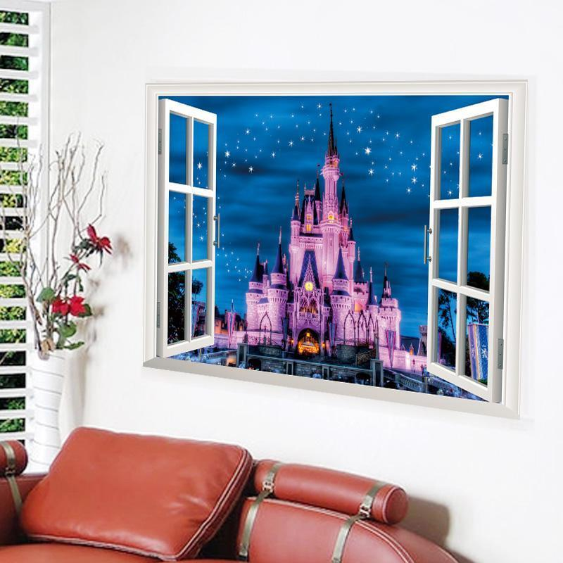 Wall Stickers Home Decor Castle Tower Sticker for Kids Room Bedroom Decoration False Window Poster Mural Wallpaper Wall Decals