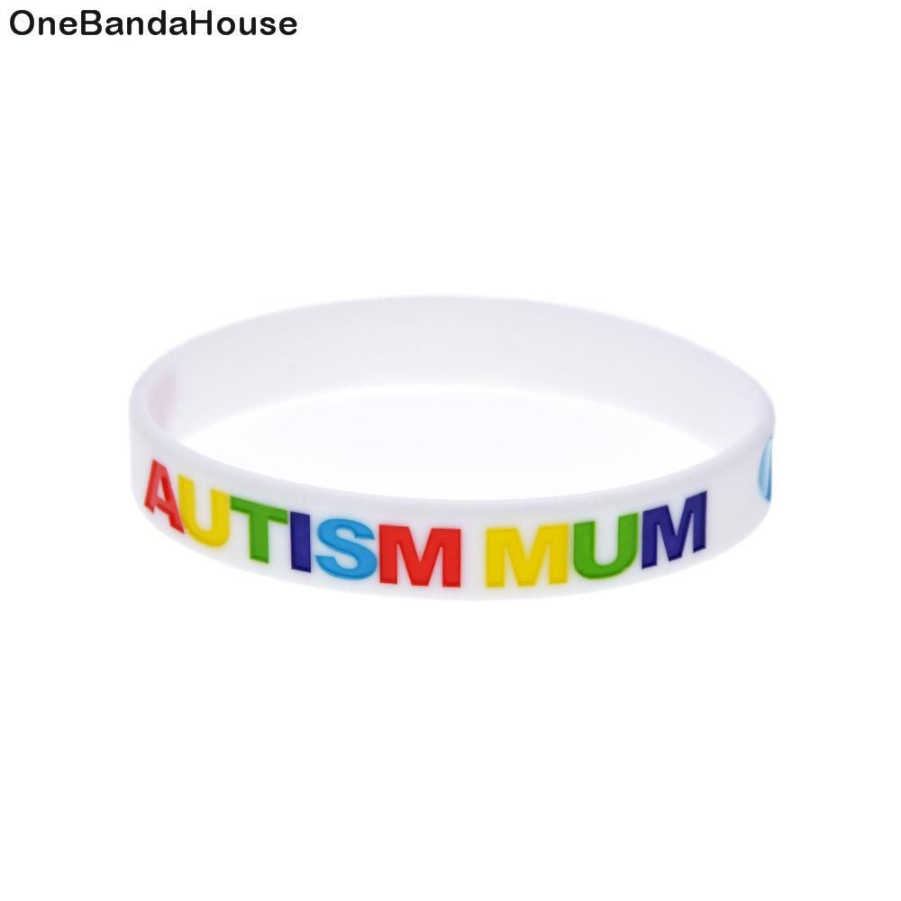 1PC White Decoration Logo Autism Mum Silicone Wristband Wear It To Support The One You Love