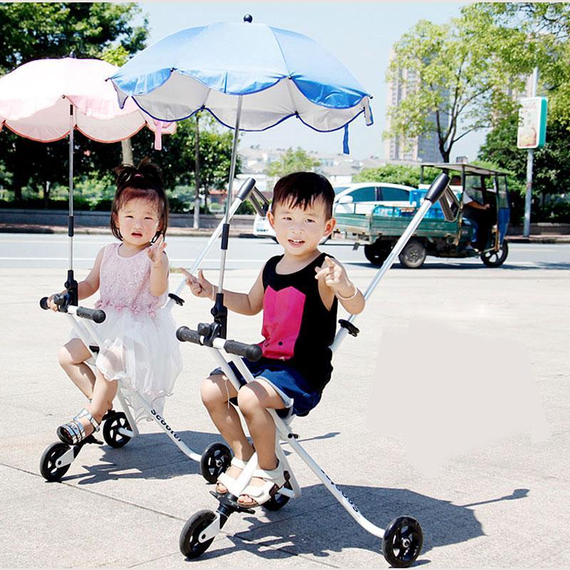 Tragbare Folding Stahl Baby-Dreirad Kinderwagen Leichte Drei Räder Kinder Trolley Kinderwagen Pram Buggy Travel Spaziergänger