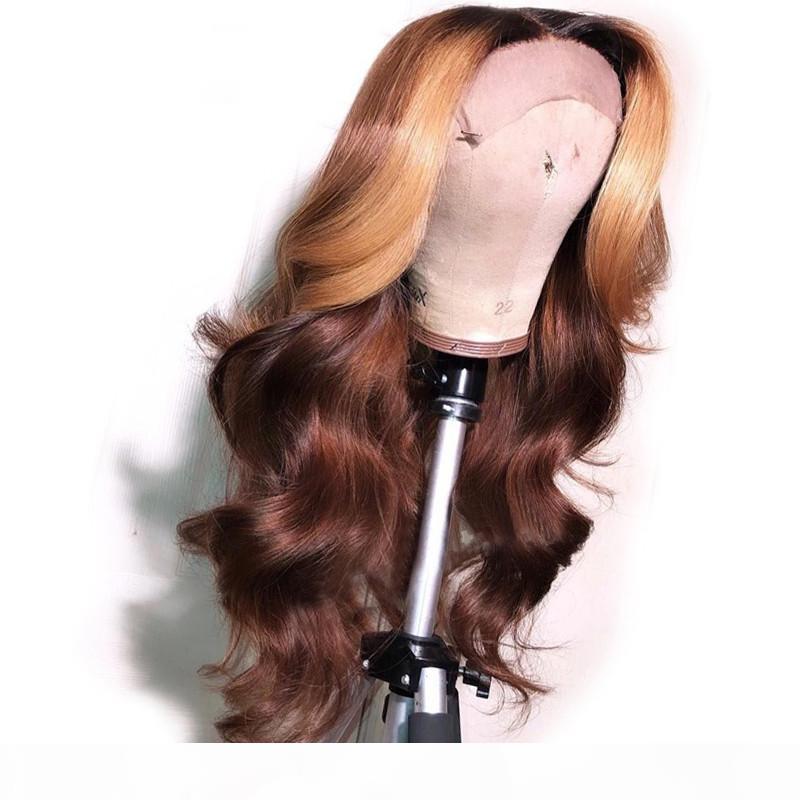 Remy do brasileiro completa humano laço perucas de cabelo Ombre Brown Com Mel loira destaques Cabelo Humano 13x6 peruca dianteira do laço