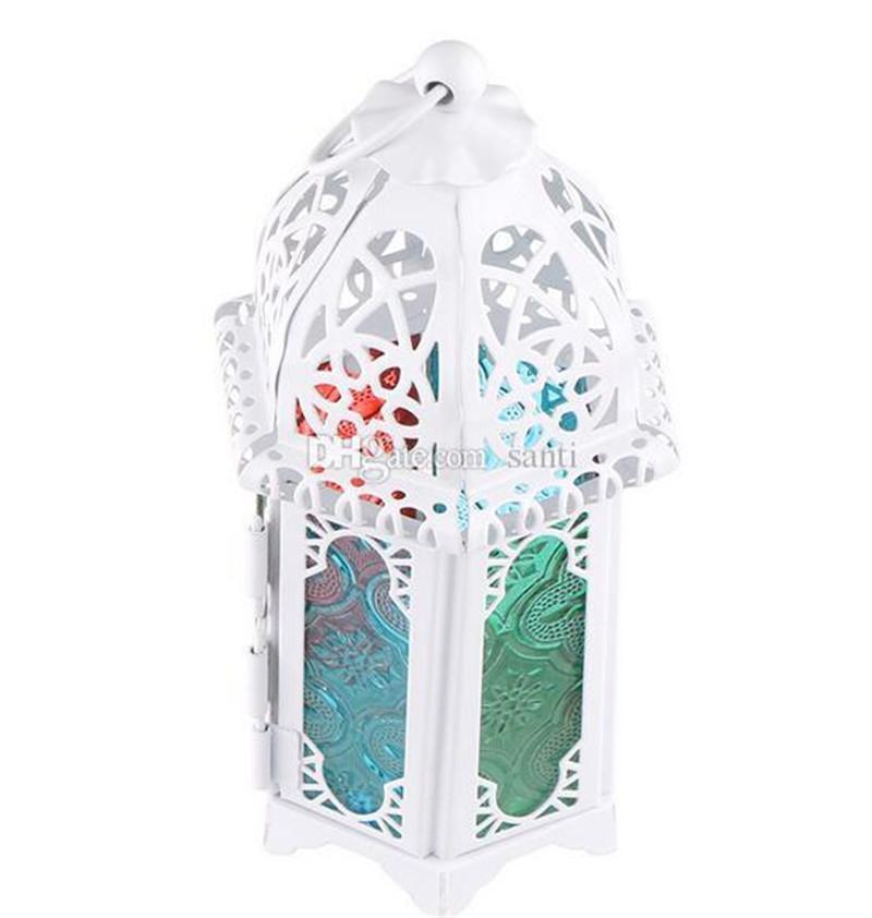 Estilo clássico marroquino Castiçal 8.3 * 7.2 * 16.5cm votiva Ferro castiçal de vidro Candle Lantern Início Decoração do casamento