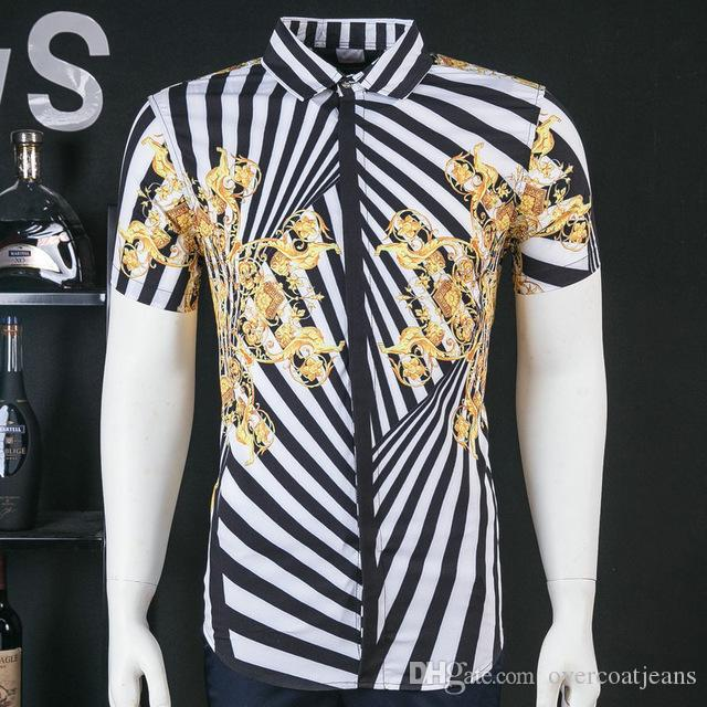 Lozoga 새로운 남성 셔츠 날씬한 디자인 이탈리아 스타일 얼룩말 줄무늬 여름 반팔 셔츠 패션 브랜드 셔츠 표준 크기 M-3XL