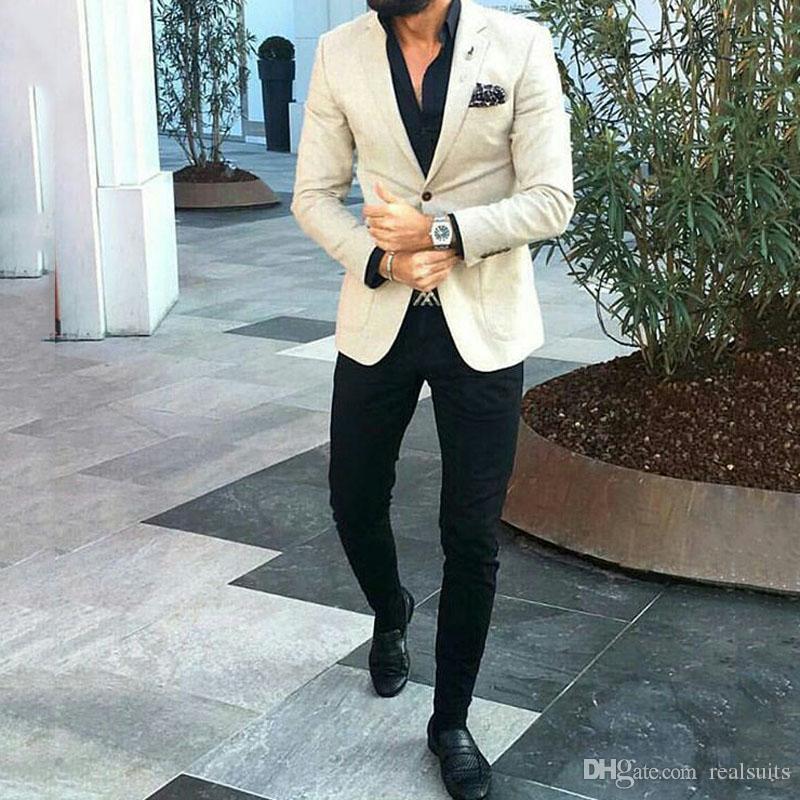 Últimos trajes de hombre para trajes de boda Hombre Marfil Blazer de negocios Novio Esmoquin de dos piezas Los padrinos de boda usan una fiesta de baile de solapa con muesca (chaqueta + pantalón)