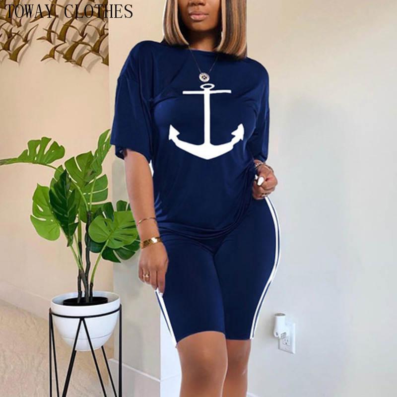 Boat Anchor Imprimir Mulheres 2 Piece Treino Set Top e ternos Shorts Set Summer Chic Causal Wear