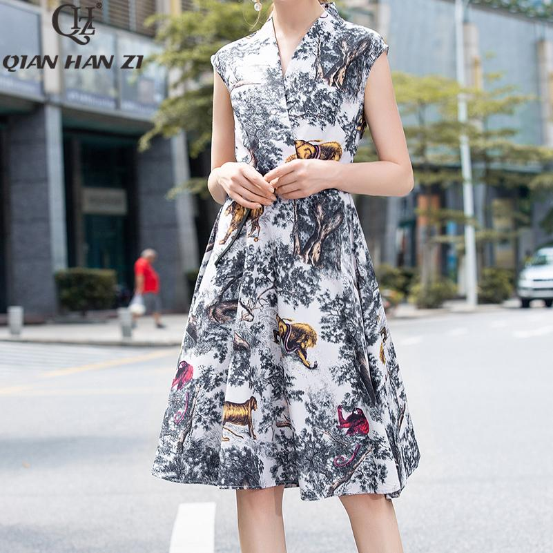 Yeni 2019 Moda Pist Yaz Elbise kadın V Yaka Hayvan Ve Ağaç Baskı Bağbozumu A-line Ince Elbise