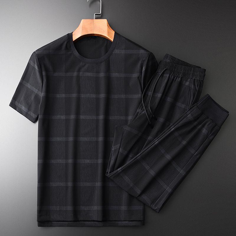 Sommermens (T-Shirt + pants) Gewebe Short Sleeve Plus Size 3xl 4xl beiläufige Sport Slim Man Sets