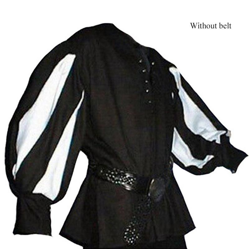 Desempenho Costume solto Top Halloween Party Vintage Cosplay Cavaleiro Medieval Costura Design Homens Homens Adisputent