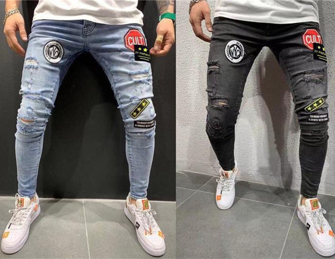 Mens Designer Jeans Patches lambrissé stretch trous Skinny Denim Crayon Pantalons Mode Homme Street Style Jeans
