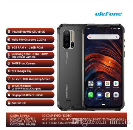 Ulefone Armatura 7 globale Banda 48MP Tripla Camera Finfgerprint ID e Face Unlock 6.3 '' Android 9.0 Telefono 128 GB 8GB NFC 5500mAh