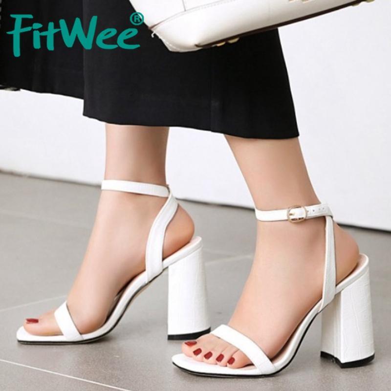 FITWEE Plus Size 34-48 Women Sandals Open Toe Square Heels Snakeskin Leather Pattern Shoes Women Party Summer Mujer Footwear