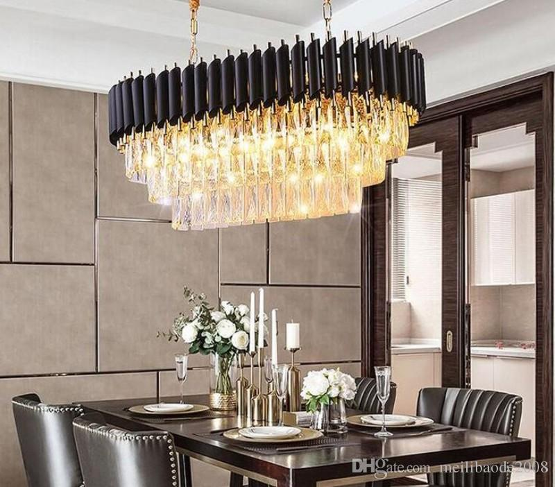 Modern Kitchen Island Crystal Chandelier Lamps Lights For Luxury Dining  Room Crystal Chandeliers Hanging LED Pendant Lighting Black MYY Pendant  Light ...