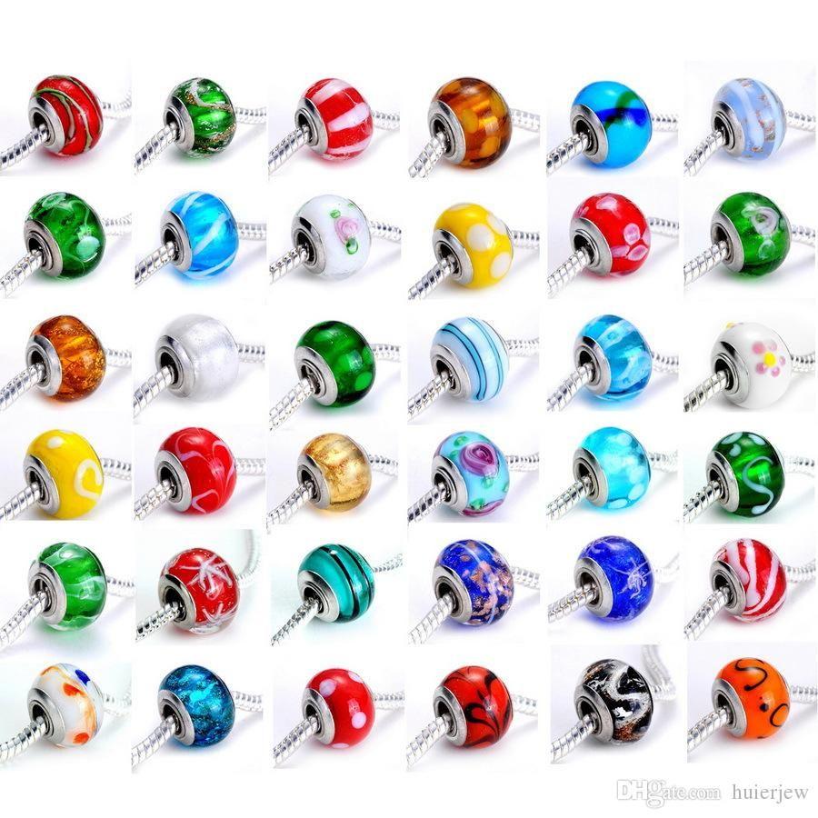 Encantos de cuentas para pulsera Cable plateado acrílico Cordón grande Agujero grande Ajuste suelto Pulsera Brazalete Charms Beads