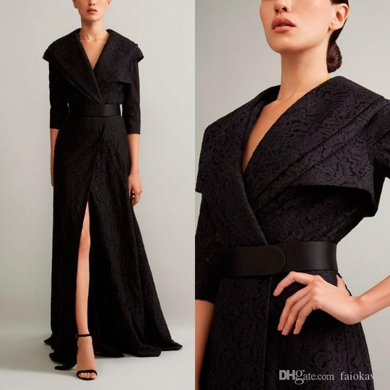 Ashi Studio 2019 Evening Dresses Black V Neck High Front Split Lace Half Long Sleeve Prom Dress Arabic Floor Length Special Occasion Gowns