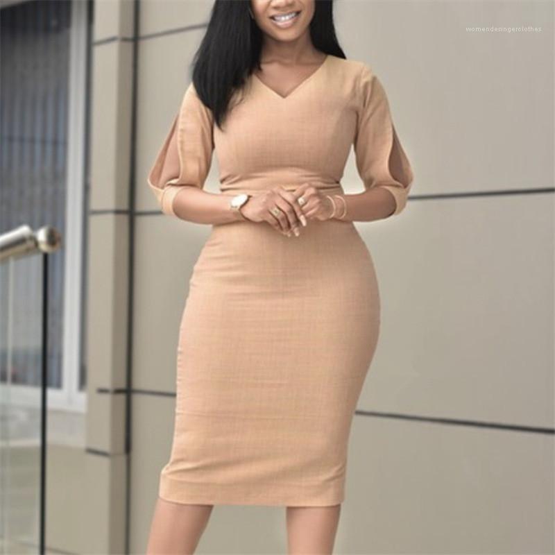 Kleid Mode Reich Bleistift-Kleider Sexy Kurzärmlig aushöhlen Female Kleid Damen Designer V-Ausschnitt Solid Color
