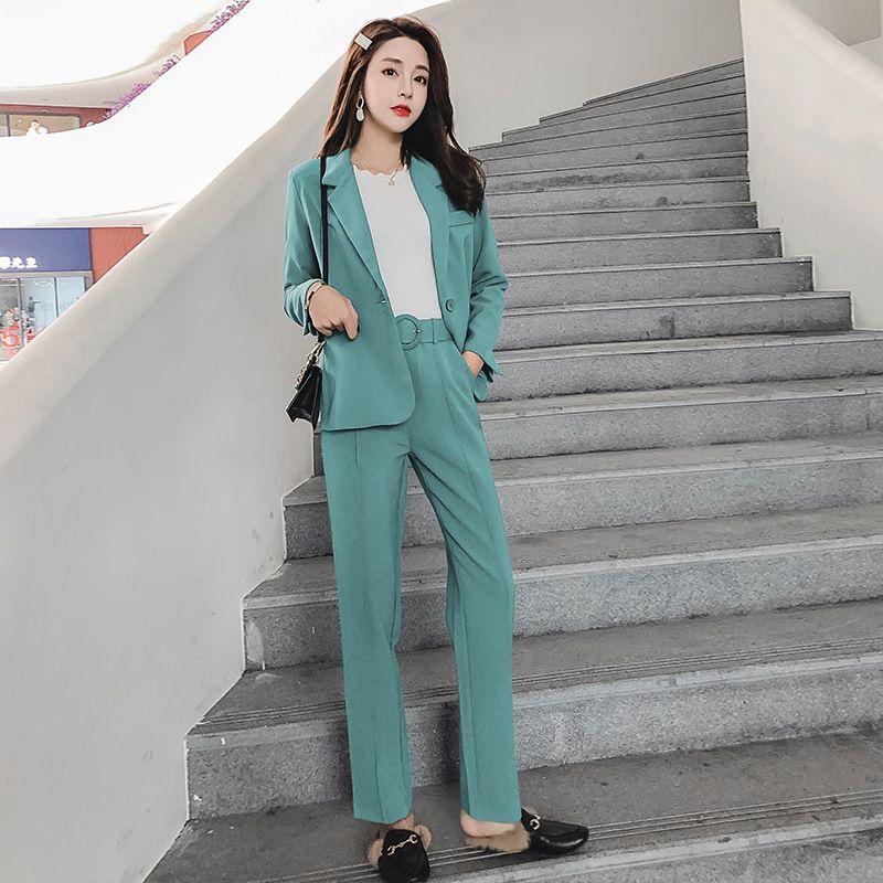 المرأة بدلة نسائية عادية بدلة خضراء اثنين من قطعة (سترة + بنطلون) الموضة وزارة الأعمال ملابس العمل