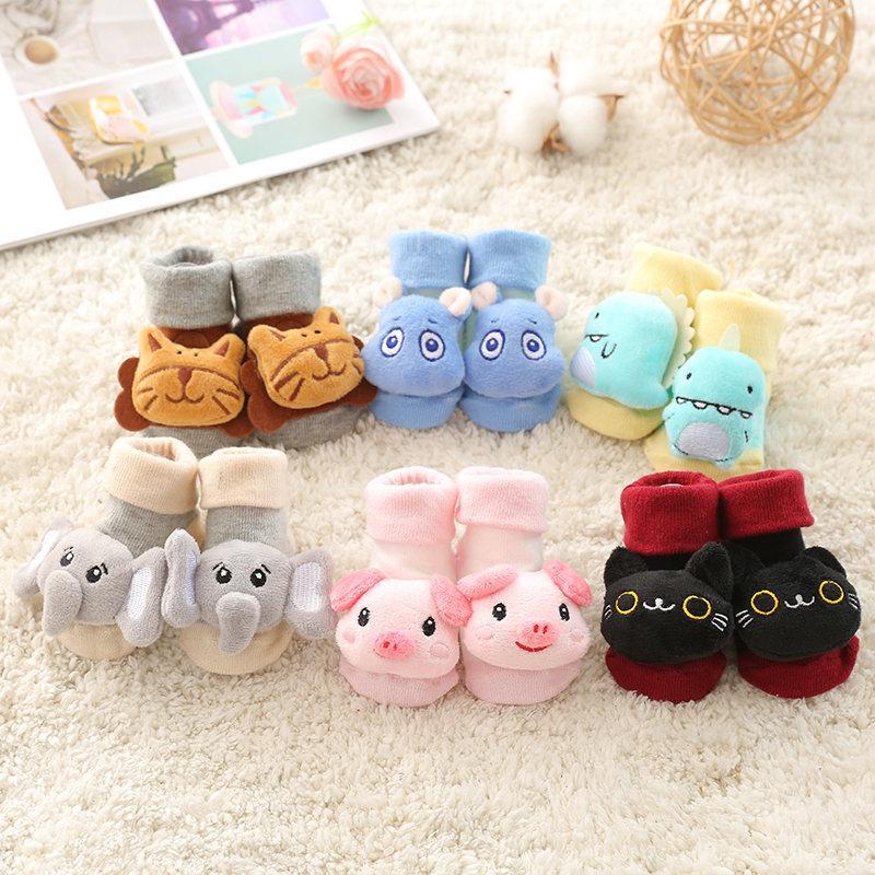 CALIENTE 6 Estilos manera del bebé calcetines de algodón recién nacido Niños suelo antideslizante calcetines Niñas Niños Calcetines