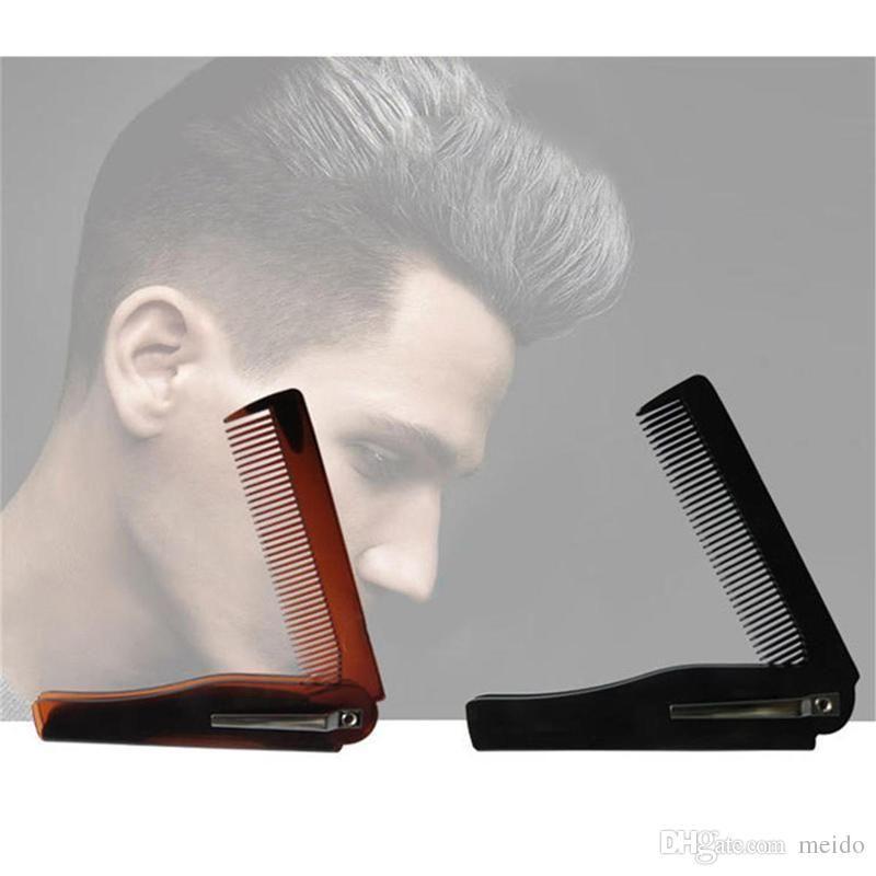 Cepillos para el cabello peine de barba bigote plegable Cepillos para el cabello peine amarillo negro rojo para hombres Cuidado del cabello 0604121
