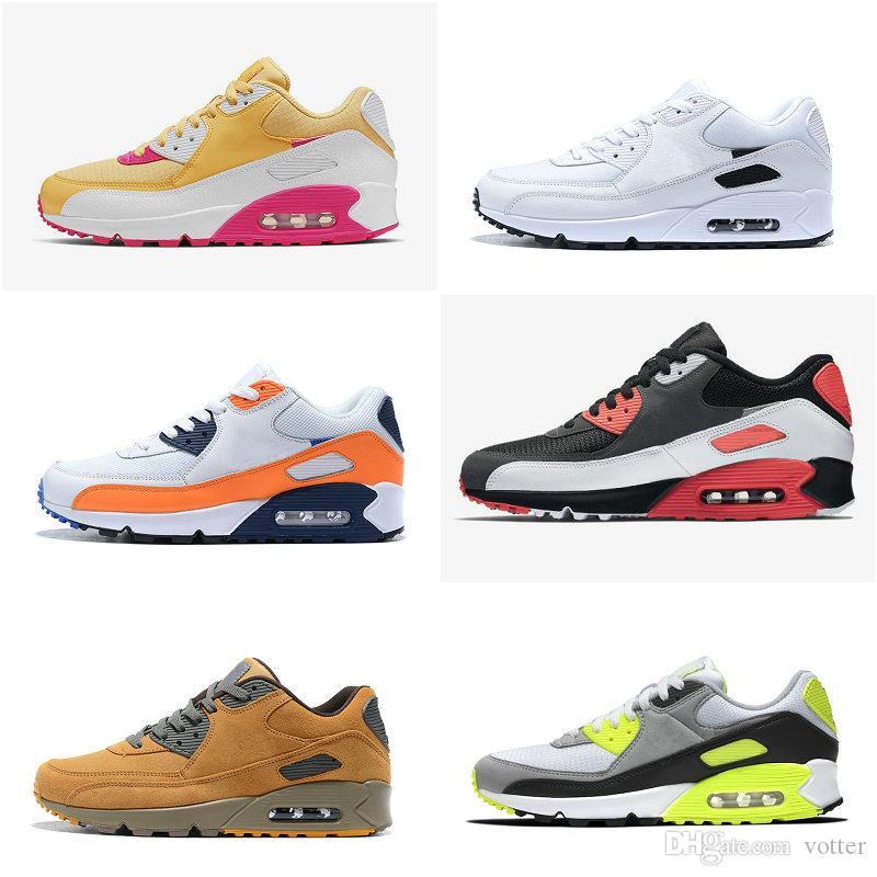 2020 New Essential Noir Gris total 90 orange Blé Invaincu Chaussures de course pour femmes d'hommes Topaz International Gold Drapeau Sport Chaussures de sport