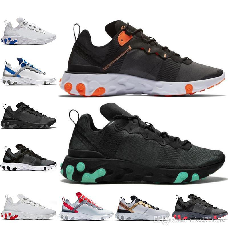 Nike React Element 55 2019 YENI Ucuz Volt Bantlanmış Dikişler React Eleman 55 Undercover X Yaklaşan koşu ayakkabıları Güneş üçlü siyah tasarımcı spor erkekler kadınlar Sneakers