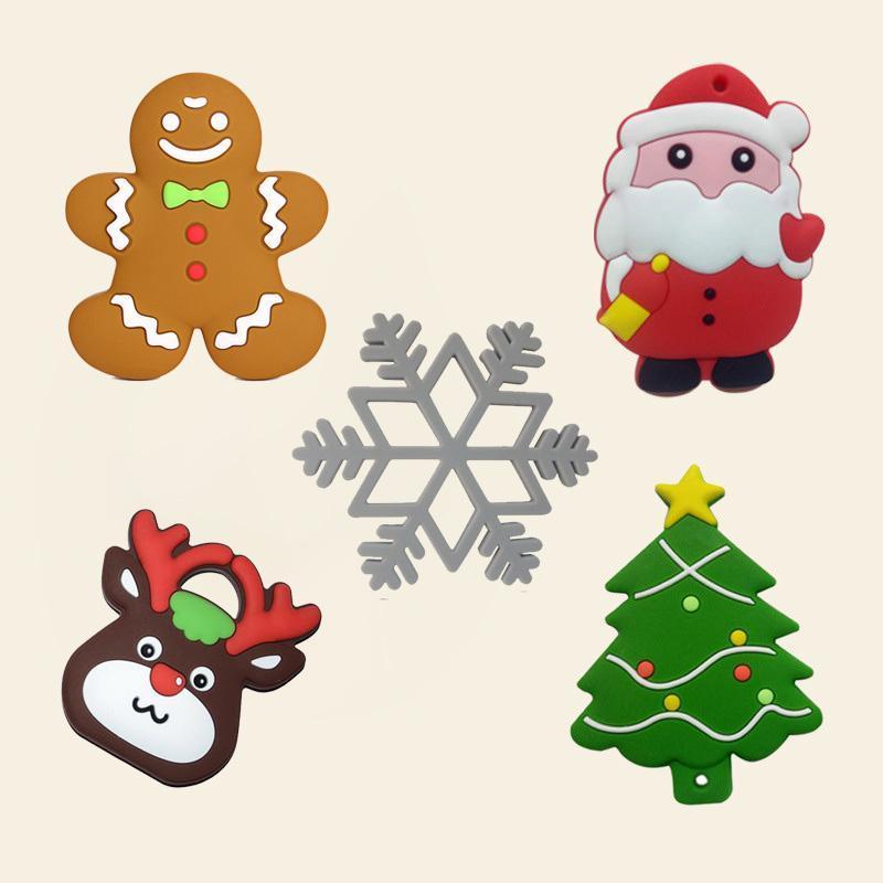Natal do brinquedo Bebê Silicone Teethers BPA dentição Árvore Papai Noel do floco de neve do bebê Teether de Silicone Beads DIY cadeia