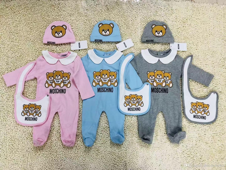 Vestiti del bambino di moda set Carino Neonati maschietti Lettera Pagliaccetto bavaglino bavaglini Cap Outfits Set