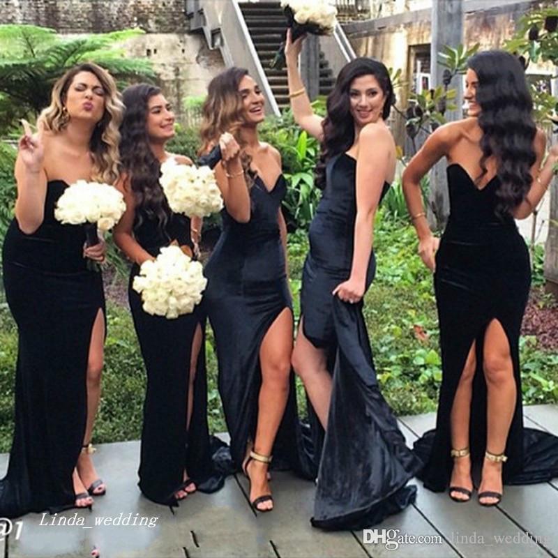 2019 Платье для подружки невесты с высоким разрезом, черное длинное вечернее платье для подружки невесты Свадебное платье плюс размер vestido de festa de casamento