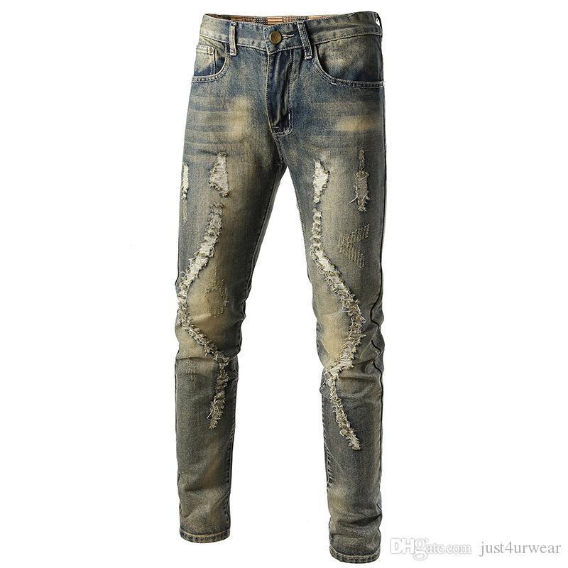 Kühle Mens DesignerRipped Bleistift-dünne Jeans im Used Stretch Slim Fit Hop Hop Hose mit Löchern für Männer