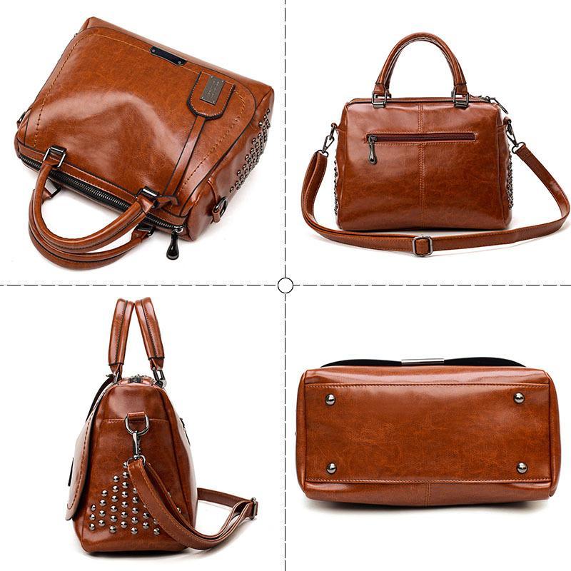 Boston Crossbody для 2018 Tote Shoulder роскошные сумки женские сумки дизайнер известный бренд Масло Воск кожа заклепки сумка MX200327