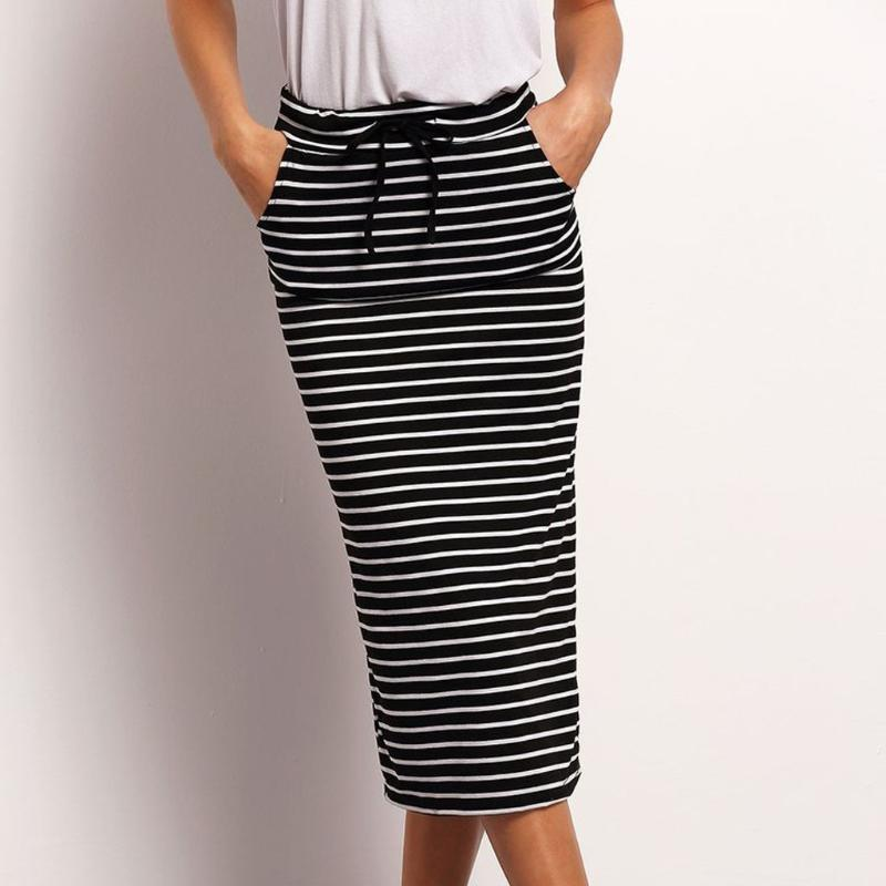 Skirts Summer Skirt 2021 Women Womens Sexy Fashion Hight Waist Stripe Pocket Elastic Jupe Femme Dropship Z