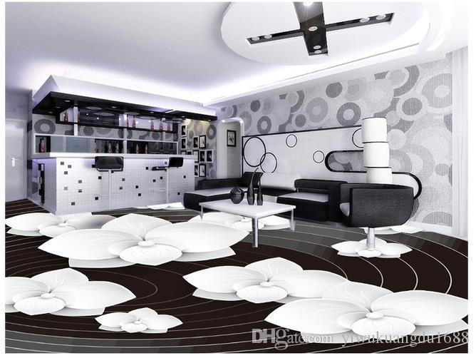3D 바닥 그림 벽지 아트 흑백 추상 플로랄 3D 바닥 그림