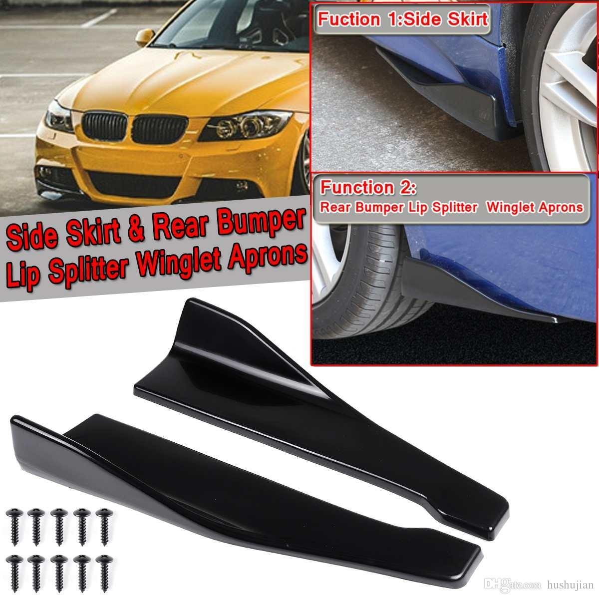 1 Set Universal Side Skirt /& Rear Bumper Lip 35cm Strip Splitter Winglet Aprons