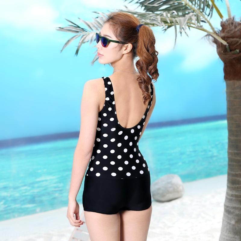 grande taille d'une seule pièce angle plat maillot de bain maillot de bain prudent points noirs à pois arrière exposée plage sexuelle des femmes 2020