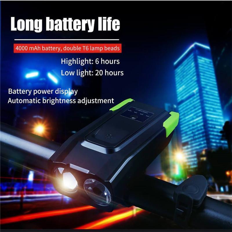 Induction vélo Eclairage avant ensemble USB rechargeable phare + 800 Corne Lumen 4000 mAH LED Smart Bike Lampe à vélo